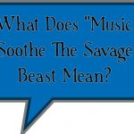 """What Does """"Music Soothe The Savage Beast Mean?"""